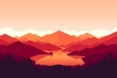 Tapeta góra wektorowych i Forrest krajobrazu na zachodzie słońca.