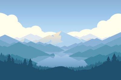 Tapeta góra wektorowych i Forrest krajobrazu w świetle dziennym.