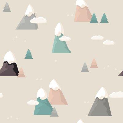 Tapeta Górski wzór. Mieszkanie w stylu cartoon Mountain