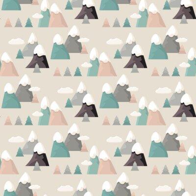 Tapeta Górski wzór. Mieszkanie w stylu cartoon Mountain.
