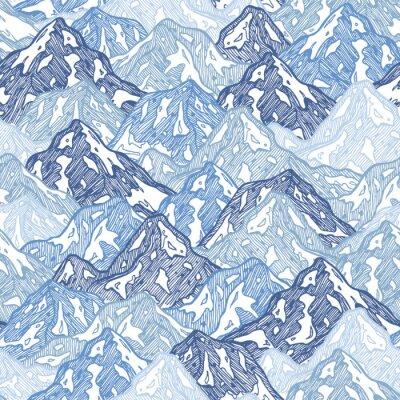 Tapeta Góry bez szwu deseń. Zabawa góry streszczenie ilustracja. Ilustracji wektorowych