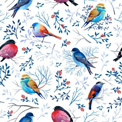 Tapeta Gouahe seamless pattern with bright birds on branches with leaves