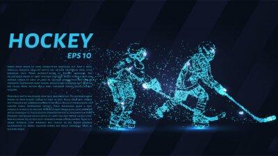 Tapeta Gra hokejowa składa się z punktów. Cząsteczki w postaci hokeja na ciemnym tle. Ilustracji wektorowych. Graficzna koncepcja hokeju