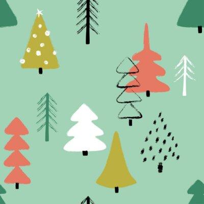 Tapeta Grunge Winter Forest Seamless Pattern.