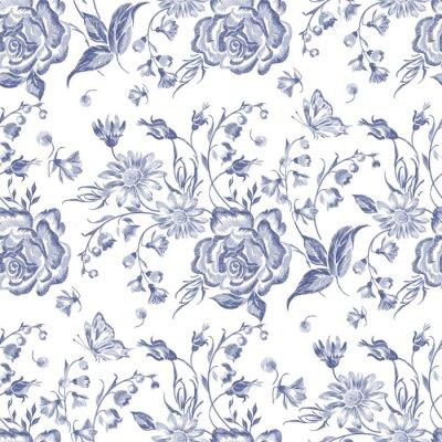Tapeta Hafty kwiatu wzorek bez szwu z róż i chamomiles. Vector haftowane niebieskie kwiaty na noszenie projektu.