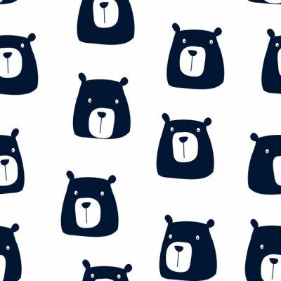 Tapeta Hand drawing bear seamless pattern vector.