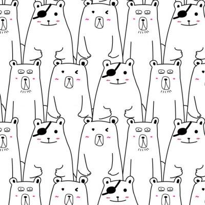 Tapeta Hand Drawn Cute Bear Vector wzorca.