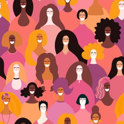 Tapeta Hand drawn seamless pattern with diverse women faces. Vector illustration. Flat style design. Concept, element for feminism, womens day card, poster, banner, textile, wallpaper, packaging background