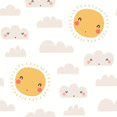 Tapeta Hand drawn seamless vector pattern with cute sun, clouds, on a white background. Scandinavian style flat design. Concept for children summer textile print, wallpaper, wrapping paper.