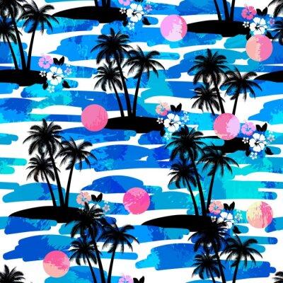 Tapeta Hawajska koszula Aloha Jednolite tło z Oceanu, hibiskus, palmy, iland. Lato Tropical egzotycznych Kompletne tekstury.
