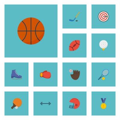 Tapeta Ikony Flat Puck, Ice Boot, Rugby I inne elementy wektorowe. Zestaw Symbole Ikony Sport Flat I Zawiera również Koszykówka, Pong, Obiekty Pucka.