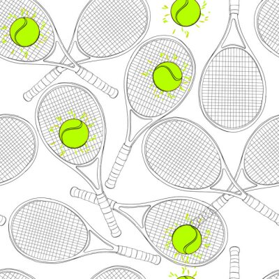 Tapeta Ilustracja bez szwu deseniu z tenisem, rakiety, kulki. R? Cznie rysowane, papier rysunek, projektowanie t? A, t? O. Zapasy sportowe dla zwycięzcy.