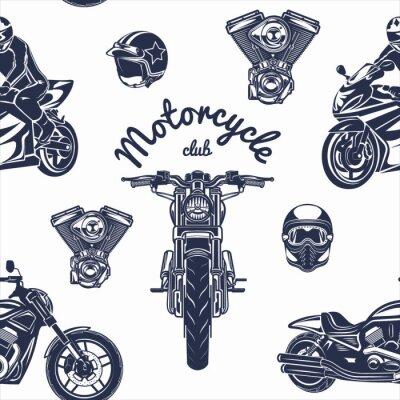 Tapeta Ilustracja bez szwu wektor wzór motocykla