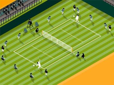 Tapeta Ilustracja wektora informacji graficznych z Tenis trawa wyrównany mecz, tenis info sportu koncepcji projektowania graficznego