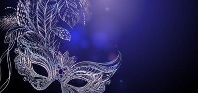 Tapeta Ilustracja wektora. Srebrna Maska karnawałowa z piór. Piękna koncepcja karty z pozdrowieniami, zaproszenie, transparentu lub ulotki.