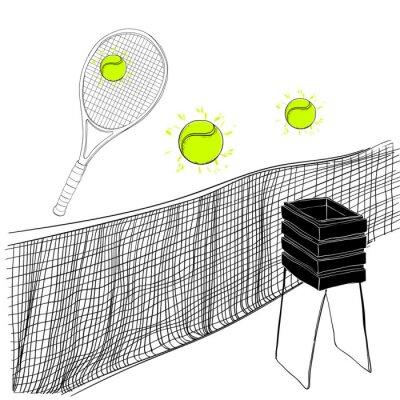 Tapeta ilustracja zestawu tenisowego rakietów, kulki, siatki tenisowej i koszyk Ręcznie rysowane, obiektów doodles. Zapasy sportowe dla zwycięzcy.