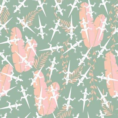 Tapeta Ilustracji Jednolite wzór z cute zielonych lasów tropikalnych zwierząt Gecko jaszczurka wektor