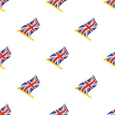 Tapeta Ilustracji wektorowych. Bez szwu deseń z flagami Wielkiej Brytanii na flagstaff na białym tle