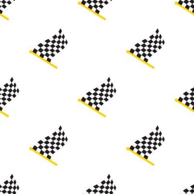 Tapeta Ilustracji wektorowych. Bez szwu deseń z flagami wyścigowe w kratkę na flagstaff na białym tle