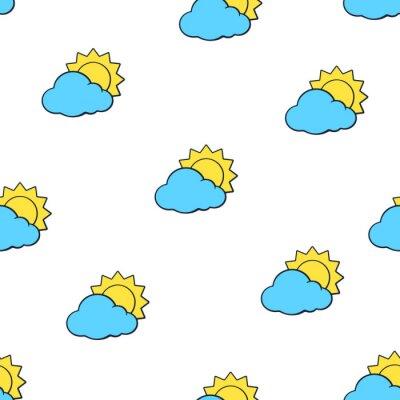 Tapeta Ilustracji wektorowych. Bez szwu deseń z suns zniknął za niebieskie chmury na białym tle. Symbol pogody. Wzór z konturem