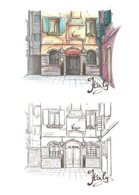 Tapeta Ilustracji wektorowych na temat ulic Wenecji
