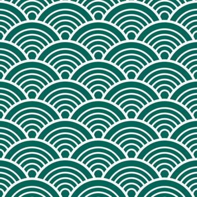 Tapeta Indigo Zielony Tradycyjny japoński chiński Seigaiha Fala wzór tła ilustracji wektorowych
