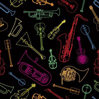 Tapeta Instrumenty muzyczne rysowane w formie wzoru