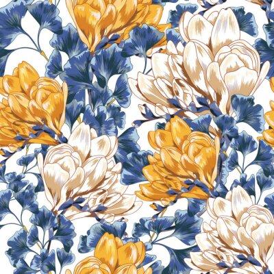 Tapeta Jaskrawa Magnoliowa kwiatu Bezszwowa Wektorowa tapeta