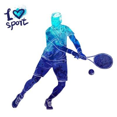 Tapeta Jasna akwarela sylwetka tenisista. Ilustracja wektora sportu. Graficzna figura sportowca. Aktywni ludzie. Styl życia rekreacyjnego. Logo Kocham sport.