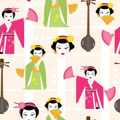Tapeta Jasny bez szwu deseń z Taniec gejsza. Ilustracji wektorowych cartoon stylu.
