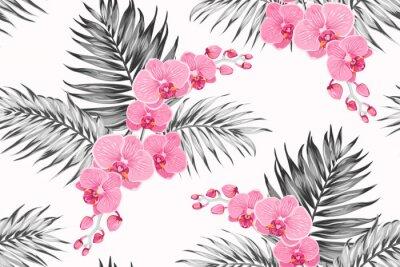 Tapeta Jasny różowy fioletowy storczyk phalaenopsis bukiet kwiatów egzotycznych z liści palmowych tropikalnej dżungli. Kontrast biały kolor tła w skali szarości. Bezszwowa deseniowa tekstura dla mody, tkanin