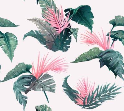 Tapeta Jasny tropikalny wzór z roślinami dżungli. Egzotyczne tło z liści palmowych. Wektor