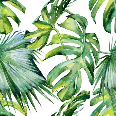 Tapeta Jednolite Akwarele ilustracji tropikalnych liści, gęstą dżunglę. Malowane ręcznie. Banner z motywem Tropic letnim mogą być używane jako tło tekstury, papier pakowy, tapety tekstylne lub wzór.