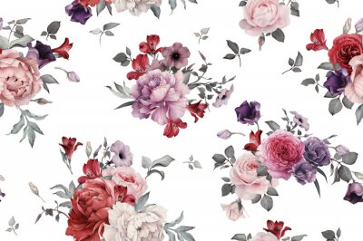 Tapeta Jednolite kwiatowy wzór z różami, akwarela.