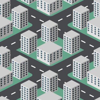 Tapeta Jednolite streszczenie płaskim miasta 3D wektora tle.