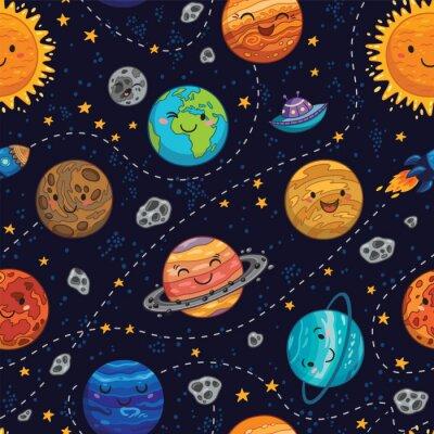 Tapeta Jednolite tło wzór z miejsca planet, gwiazd i komet.