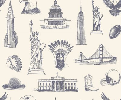 Tapeta Jednolite tło z szkicami symboli USA
