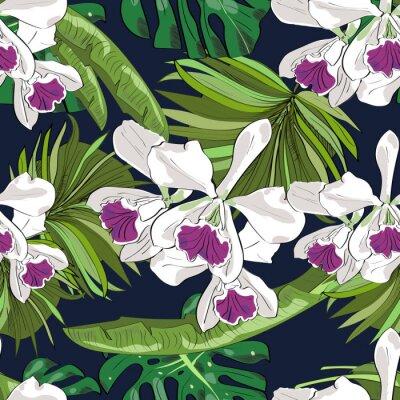 Tapeta Jednolite wektora wzór egzotycznych r? Cznie rysowane kwiatów i li? Ci. Tropikalne tło.