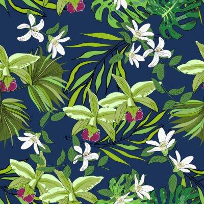 Tapeta Jednolite wektora wzór egzotycznych wektora rysowane kwiatów i liści.