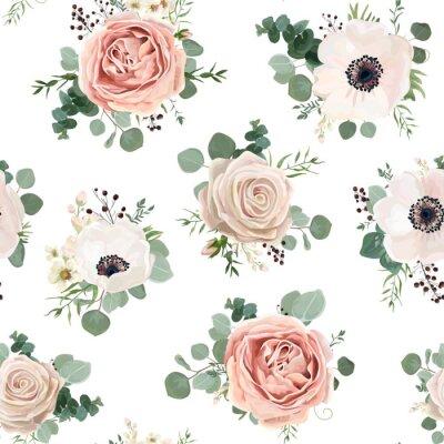 Tapeta Jednolite wzór Wektor kwiatowy wzór stylu akwarela ogród proszek biały różowy Anemone kwiat srebrny Eucalyptus oddział zielony tymianek wosk kwiaty zieleni liście jagód. Rustykalne romantyczny tło wyd