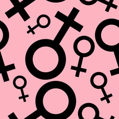 Tapeta Jednolite wzór z czarnymi symbolami płci żeńskiej. Samice oznaki różnych rozmiarach. Wzór na różowym tle. ilustracji wektorowych