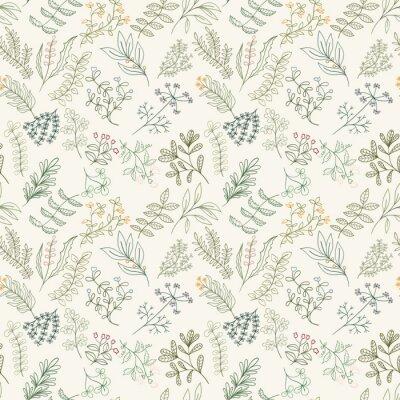 Tapeta Jednolite wzór z kwiatów, ziół i liści