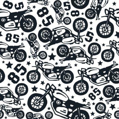 Tapeta Jednolite wzór z motocyklami rysunków