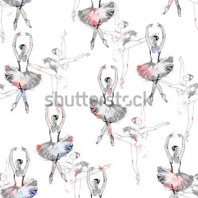 Tapeta Jednolity wzór tancerzy baletowych, rysunek czarny i srebrny, akwarela, monochromatyczny z akcentami kolor na białym tle.