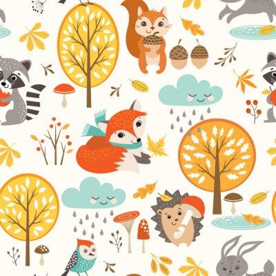 Tapeta Jesienią bez szwu deseń z cute zwierząt leśnych, drzew, deszczowe chmury, grzyby i liści.