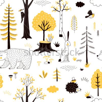 Tapeta jesienny wzór lasu