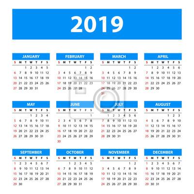 Kalendarz 2019 Wektor Szablon Tło Myloviewpl