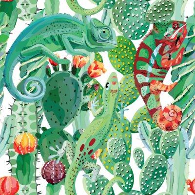 Tapeta Kameleon i kaktus bezszwowe tło