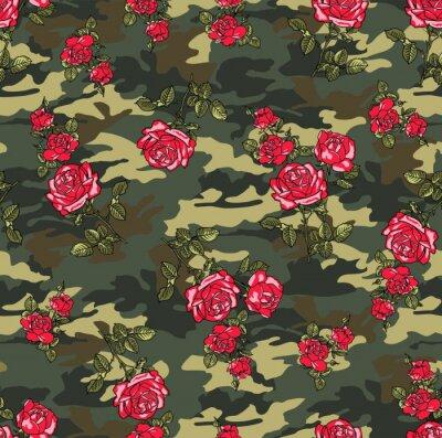 Tapeta kamuflaż róża bezszwowe wektor wzór
