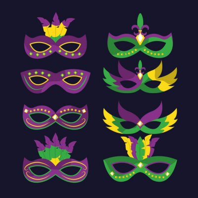 Tapeta karnawałowe maski mardi gras z różami styl ilustracji wektorowych piór